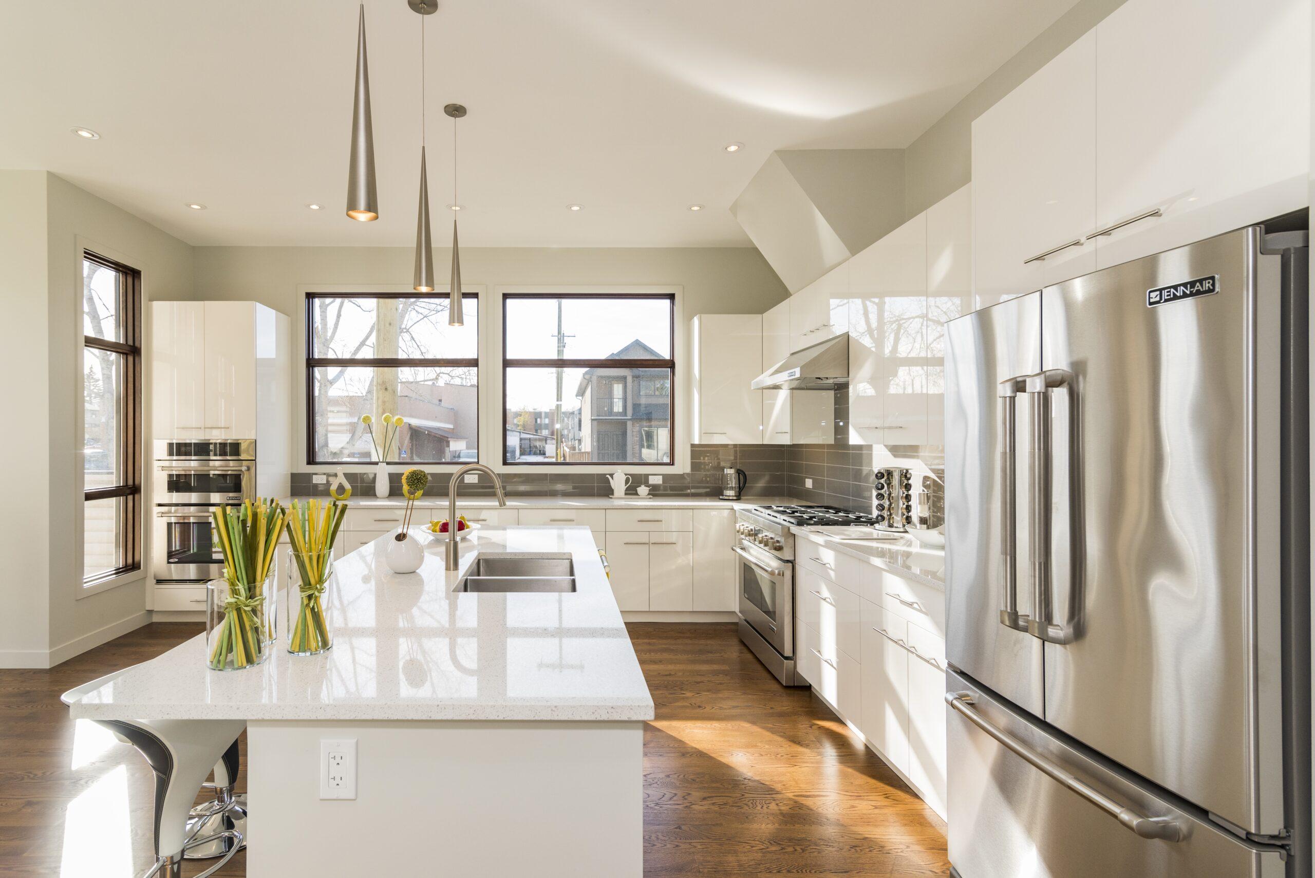 A beautiful shot of a modern house kitchen
